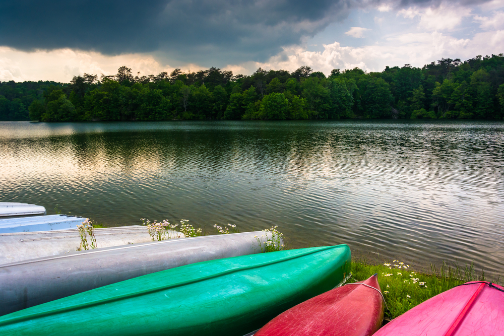 Canoes along the shore of Prettyboy Reservoir in Baltimore, Maryland.